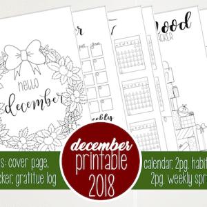 December 2018 Printable Bullet Journal Setup