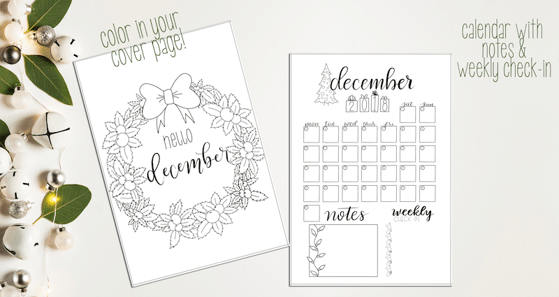 December 2018 Printable Bullet Journal Setup